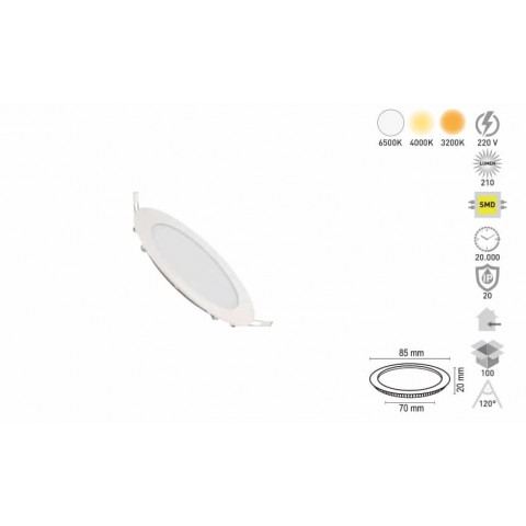 "3w 2"" Led Panel Arm. Yuv. Slım Kasa Beyaz"