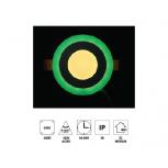 """Forlife FL-2054Y 5W 2,5"""" Çift Renkli Led Panel Armatür Yeşil Işıklı Günışığı"""